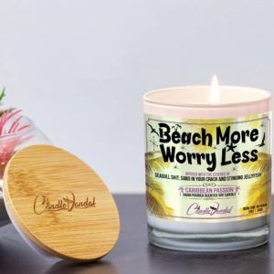 Beach More Wory Less Lid and Candle