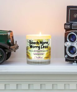 Beach More Wory Less Mantle Candle