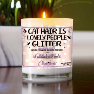 Cat Hair is Lonely People Glitter Table Candle