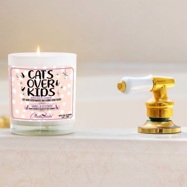 Cats Over Kids Bathtub Candle