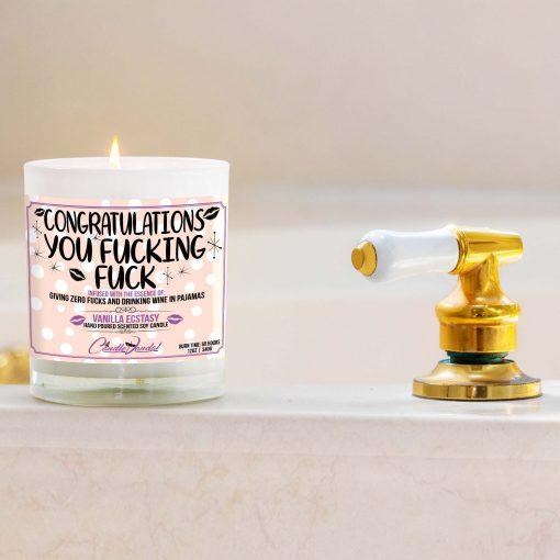 Congratulations You Fucking Fuck Bathtub Candle