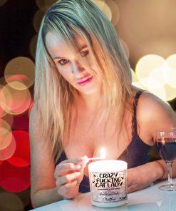 Crazy Fucking Cat Lady Lighting Candle