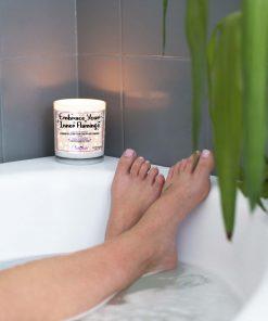 Embrace Your Inner Flamingo Bathtub Candle