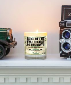 Home of the Free Because of the Brave Mantle Candle