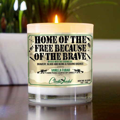 Home of the Free Because of the Brave Table Candle