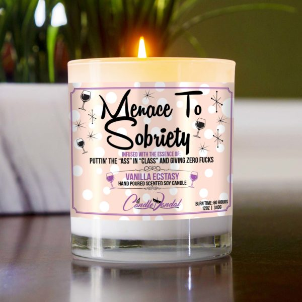 Menace to Sobriety Table Candle