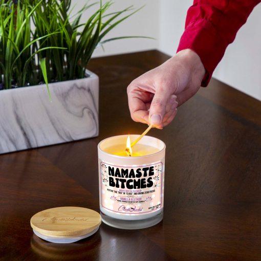 Namaste Bitches Lighting Candle