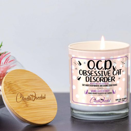 OCD Obsessive Cat Disorder Lid and Candle