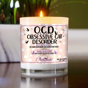 OCD Obsessive Cat Disorder Table Candle