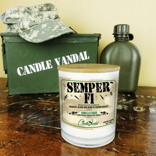 Semper Fi Marines Military Candle