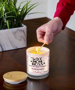 Wife Mom Boss Lighting Candle