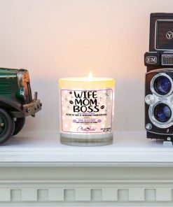 Wife Mom Boss Mantle Candle