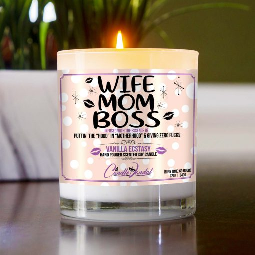 Wife Mom Boss Table Candle