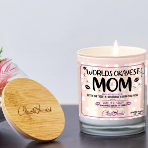 Worlds Okayest Mom Lid and Candle