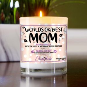 Worlds Okayest Mom Table Candle