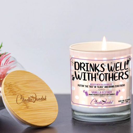 Drinks Well with Others Funny Candle and Lid