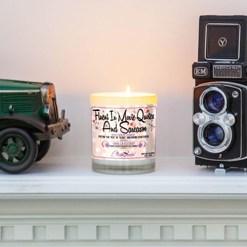 Fluent in Movie Quotes and Sarcasm Mantle Candle