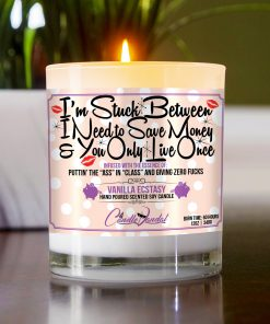 I'm Stuck Between I Need to Save Money and You Only Live Once Funny Table Candle