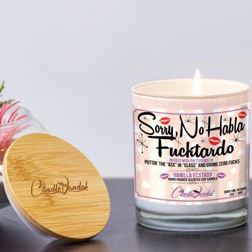 Sorry, No Habla Fucktardo Funny Candle and Lid