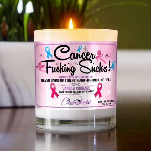 Cancer Fucking Sucks Table Candle