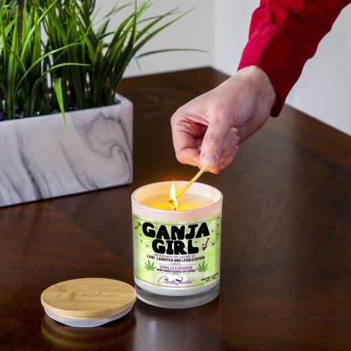Ganja Girl Lighting Candle