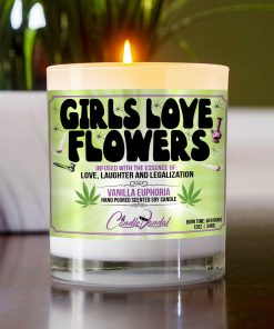 Girls Love Flowers Table Candle