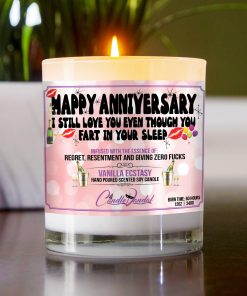 Happy Anniversary I Still Love You Even Though You Fart In Your Sleep Table Candle