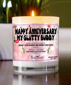Happy Anniversary My Slutty Buddy Table Candle