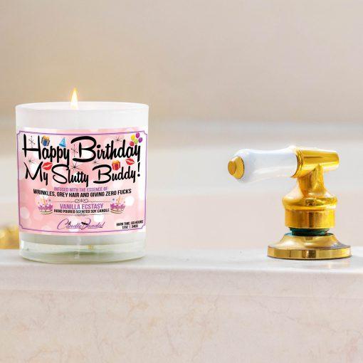 Happy Birthday My Slutty Buddy Bathtub Side Candle