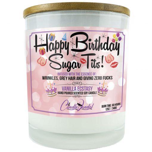 Happy Birthday Sugar Tits Candle