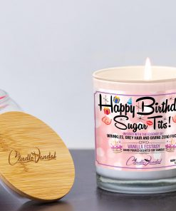 Happy Birthday Sugar Tits Lid and Candle