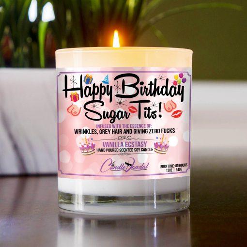Happy Birthday Sugar Tits Table Candle