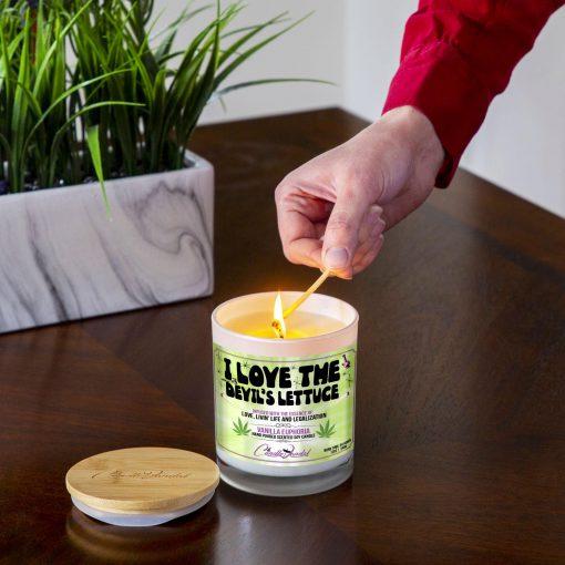 I Love The Devils Lettuce Lighting Candle