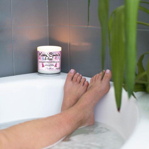 Kickin Cancers ass Bathtub Candle