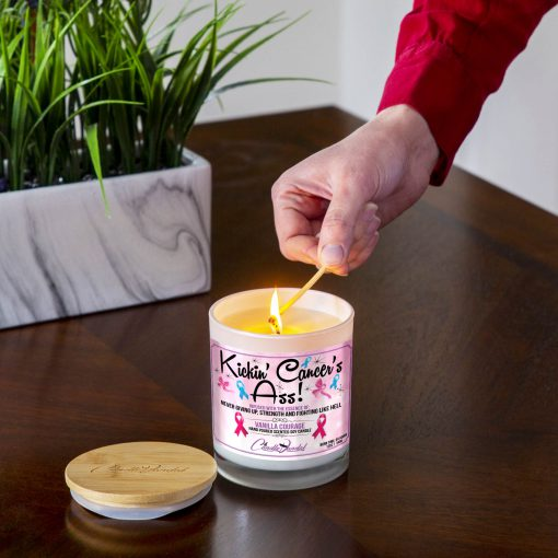 Kickin Cancers ass Lighting Candle