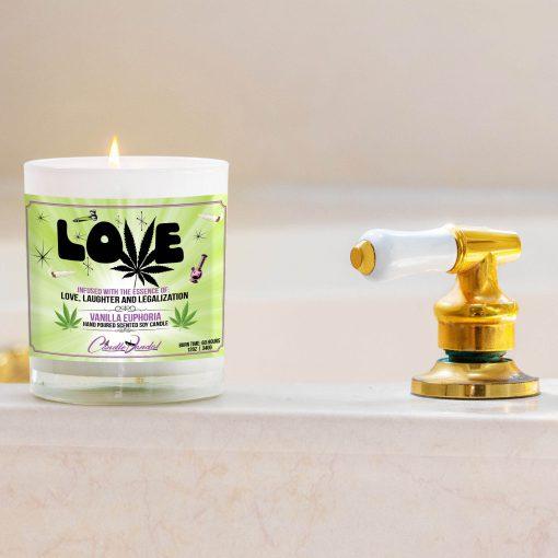 Love Marijuana Leaf Bathtub Side Candle