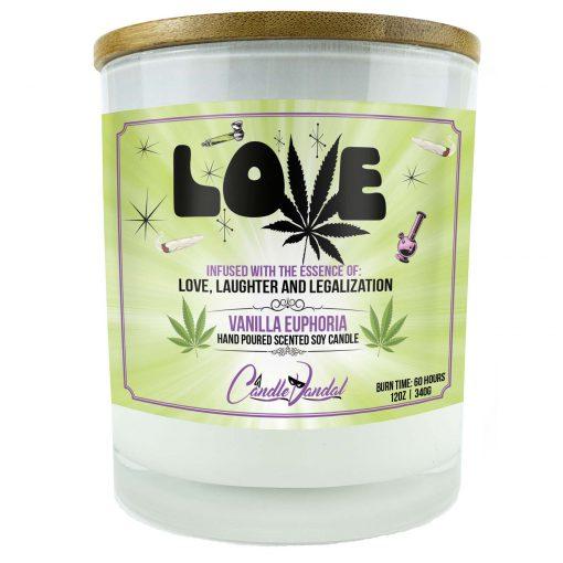 Love Marijuana Leaf Candle