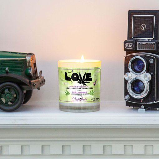 Love Marijuana Leaf Mantle Candle