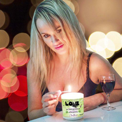 Love Marijuana Leaf Match Lighting Candle
