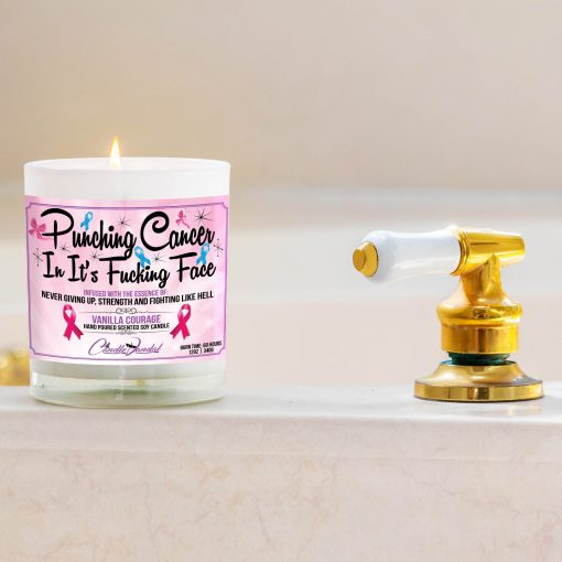 Punching Cancer In It's Fucking Face Bathtub Side Candle