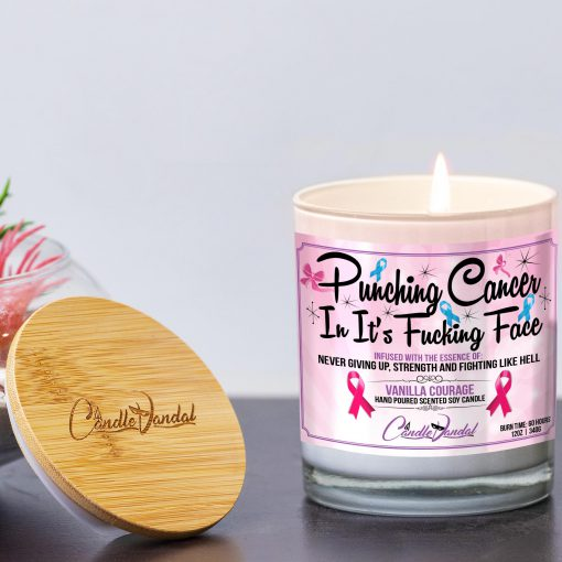 Punching Cancer In It's Fucking Face Lid and Candle